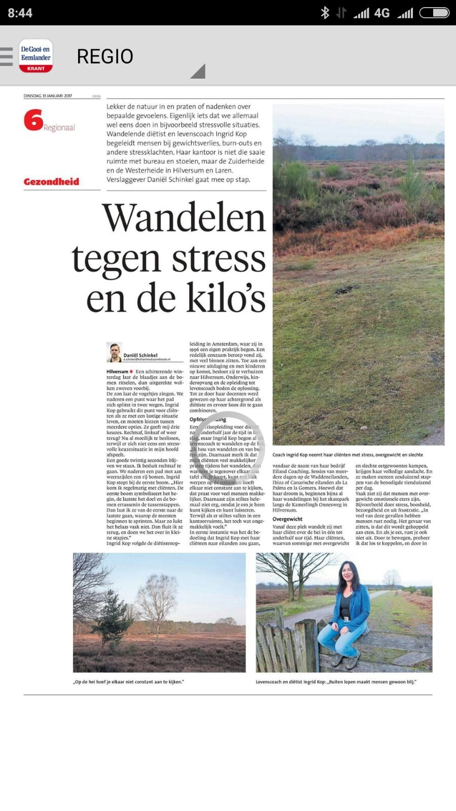 Eilandcoaching in de krant, dietist Hilversum