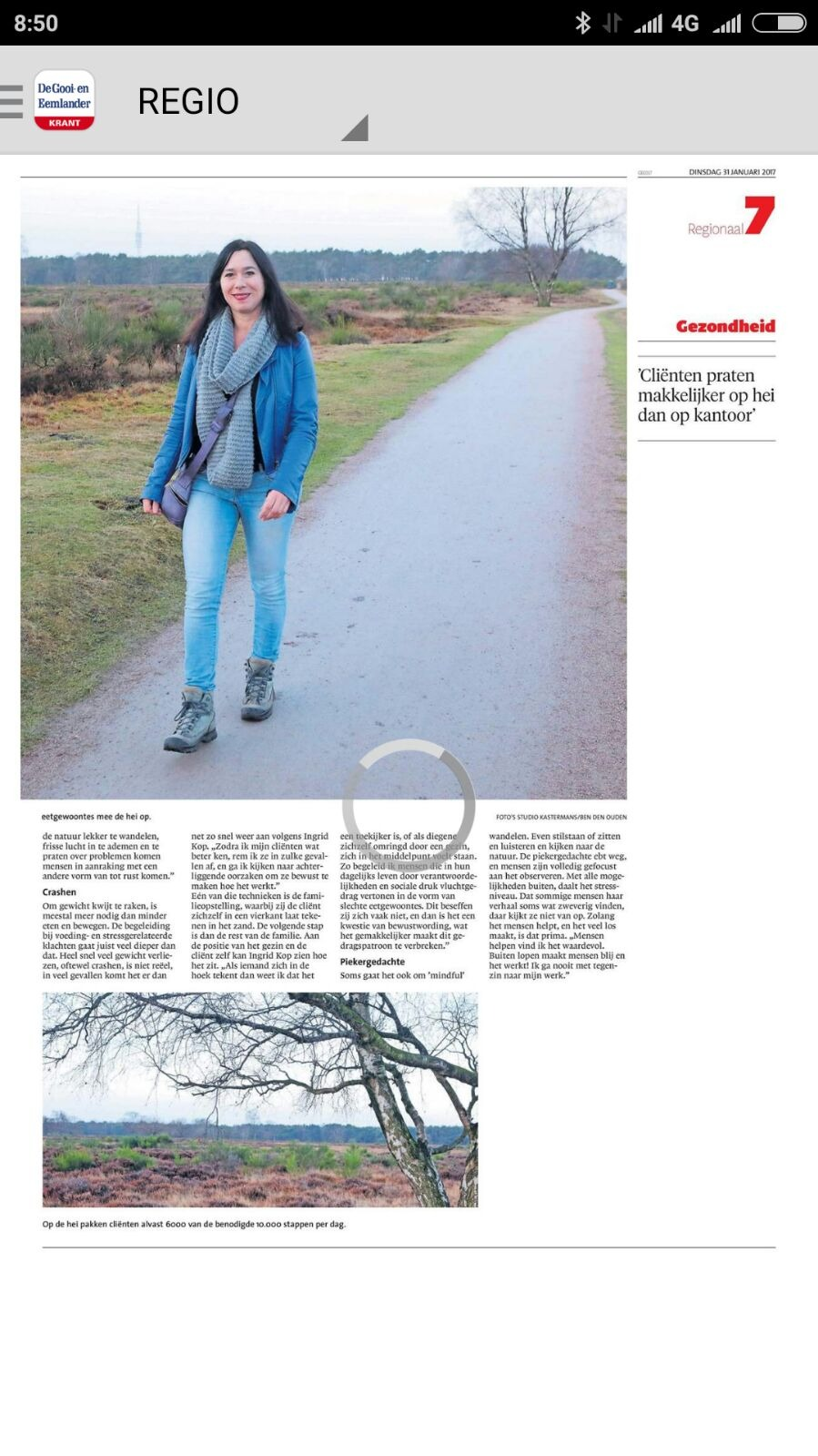 Eilandcoaching in de krant, de Gooi & Eemlander. de wandelende dietist in Hilversum.